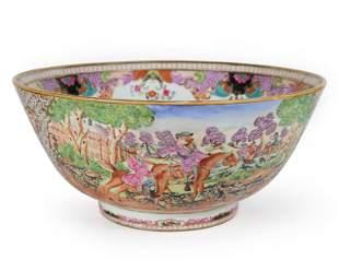 Chinese Export Famille Rose Porcelain 'Hunt' Punch Bowl