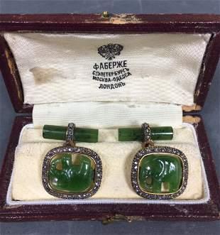 Pair vintage Spinach Jade Cuff Links with diamonds