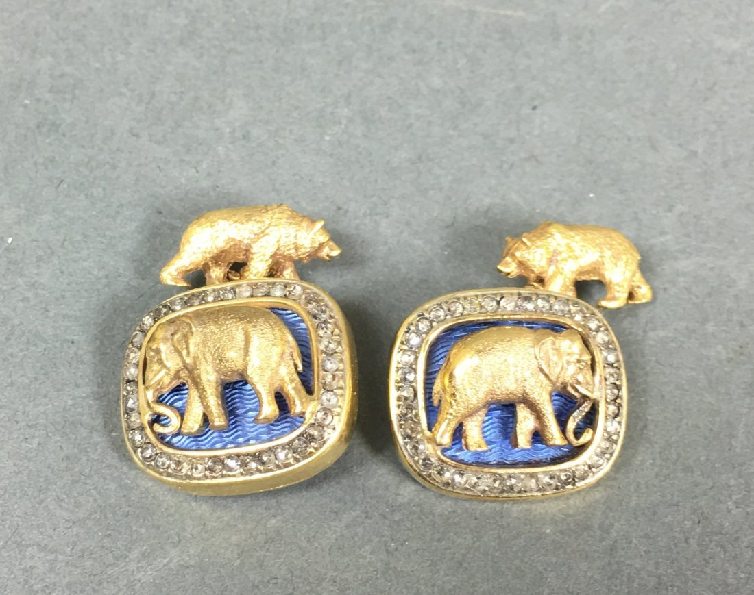 Pair vintage cuff links elephant and bear with diamonds - 2