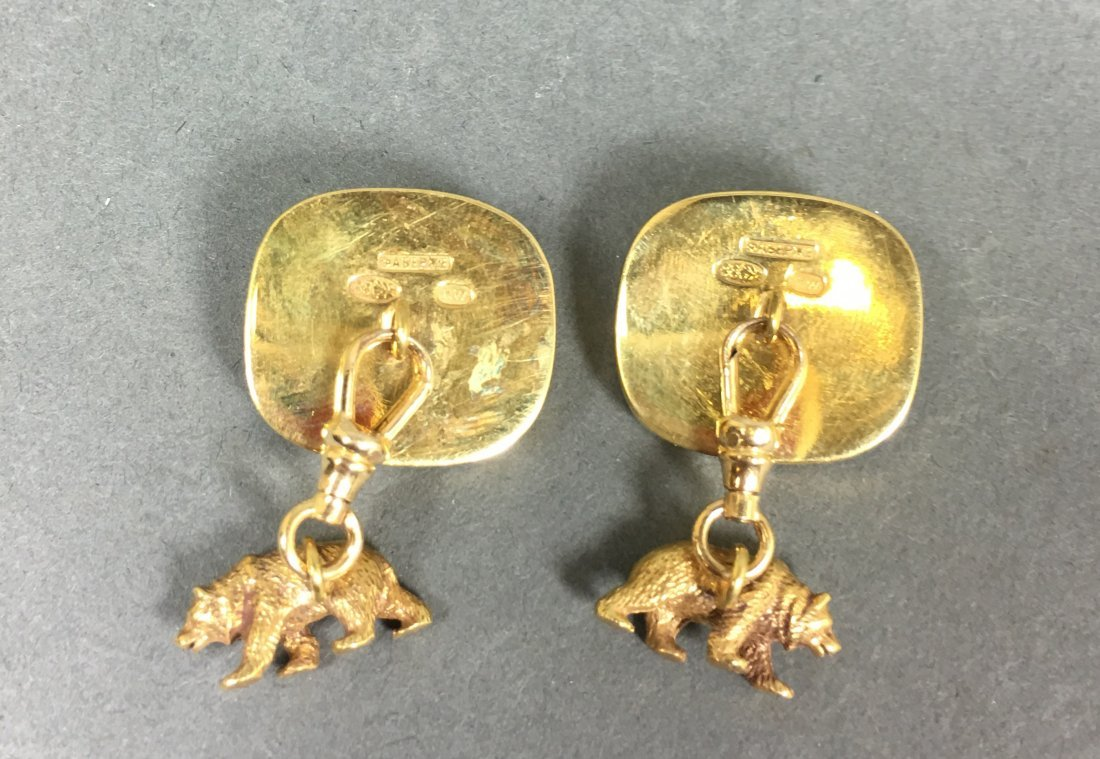 Pair vintage cuff links elephant and bear with diamonds - 3