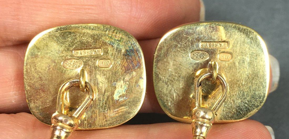Pair vintage cuff links elephant and bear with diamonds - 4