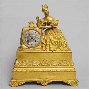 19th C French Gilded Bronze Clock