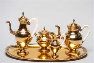 French Silver gilt coffee tea set