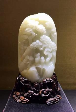 White jade mountain scene
