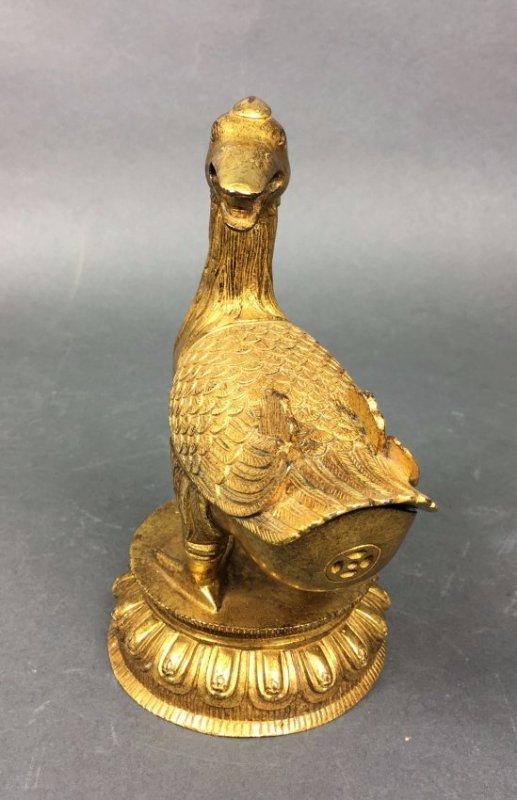 Chinese Gilt Bronze Figure Of Duck - 3
