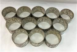 12 pc Sterling Silver Napkin Rings