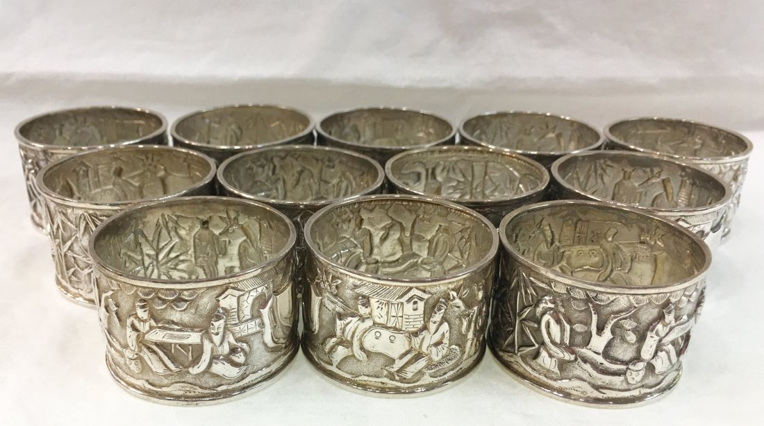 12 pc Sterling Silver Napkin Rings - 2
