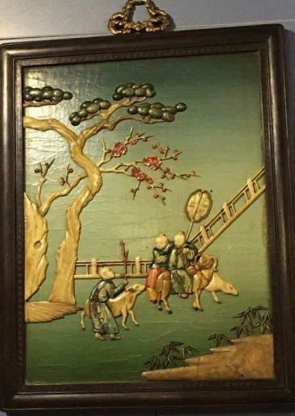 Qing Chinese Wall Screen With Rosewood Frame