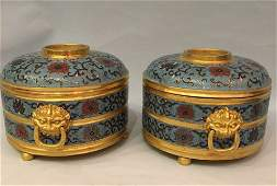 A Pair Of Chinese Cloisonne Enamel Box With Mark