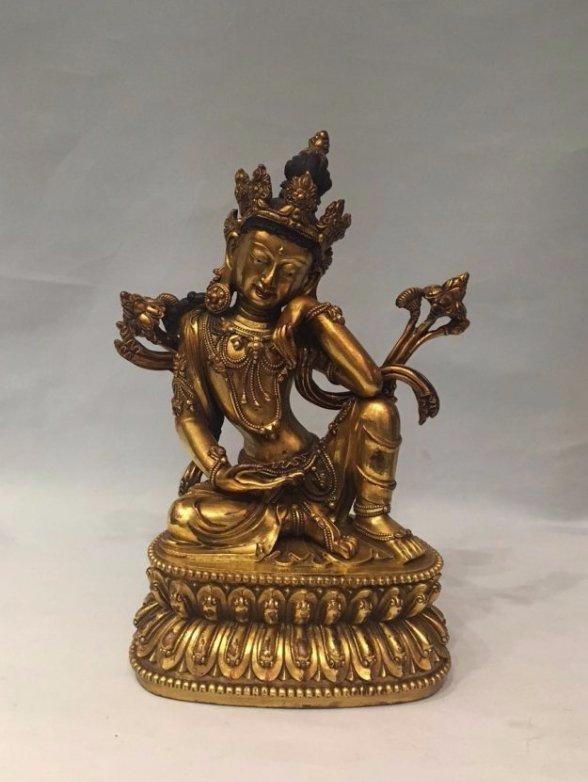 Chinese Gilt Bronze Thinking GuanYin