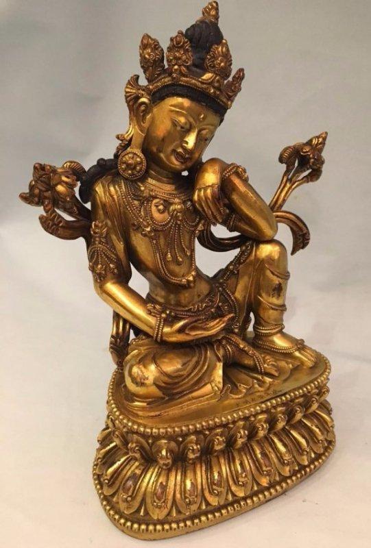 Chinese Gilt Bronze Thinking GuanYin - 6