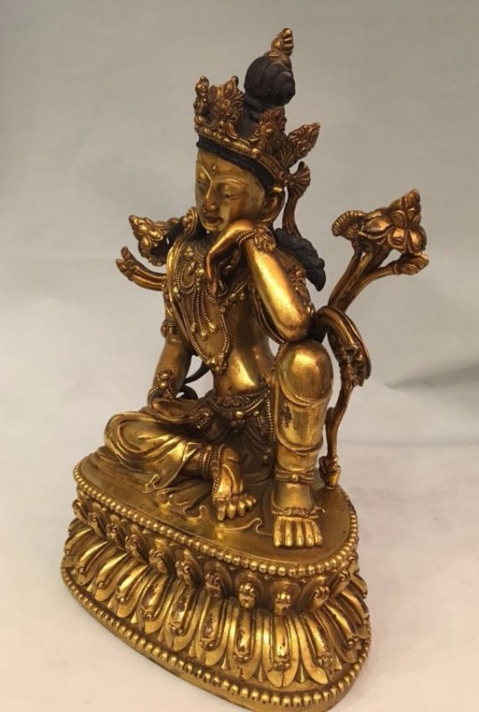 Chinese Gilt Bronze Thinking GuanYin - 7