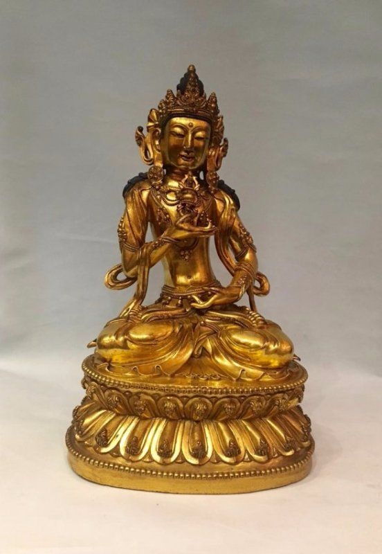 Chinese Gilt Bronze Figure With Signed