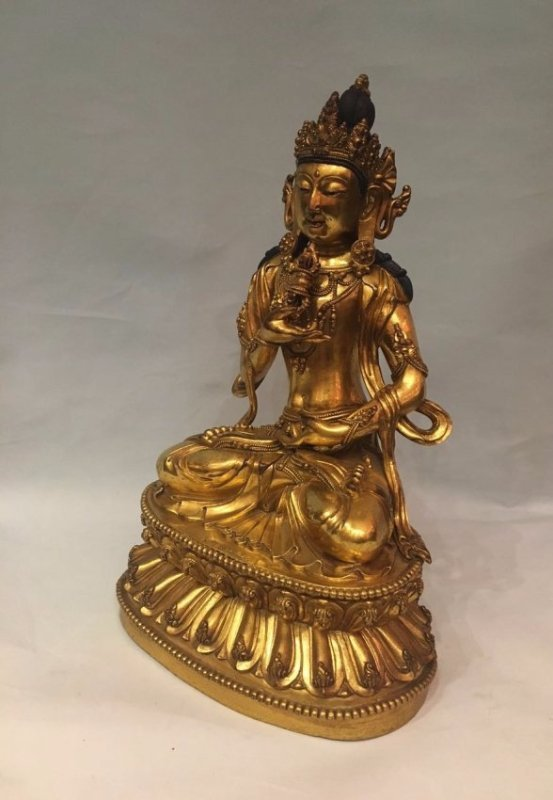 Chinese Gilt Bronze Figure With Signed - 3