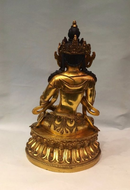 Chinese Gilt Bronze Figure With Signed - 4