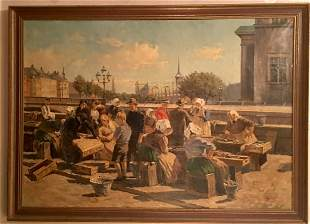 Painting of women working