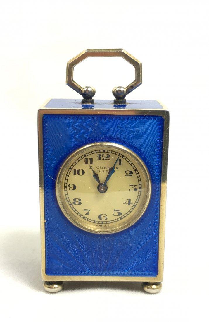Rare E. Gubelin Lucerne Silver Clock - 3