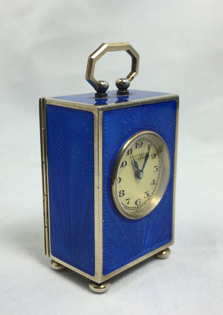 Rare E. Gubelin Lucerne Silver Clock - 4