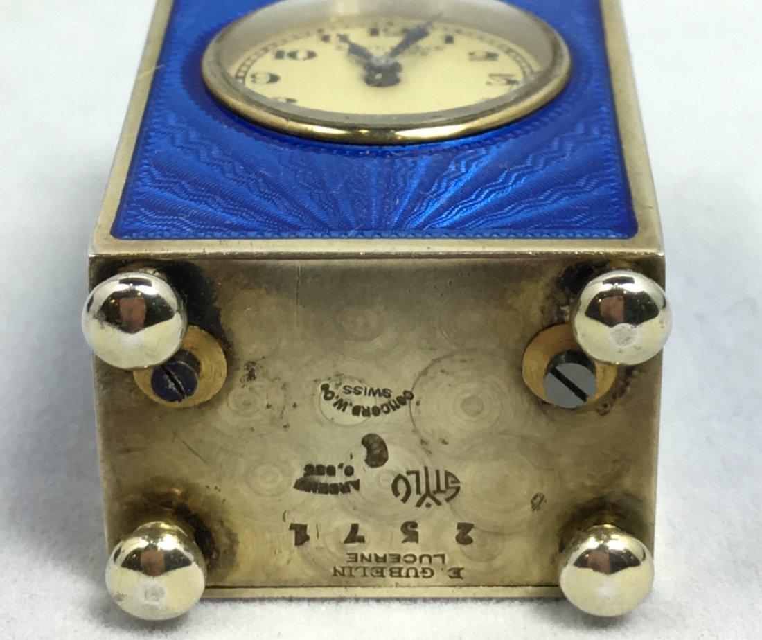 Rare E. Gubelin Lucerne Silver Clock - 7