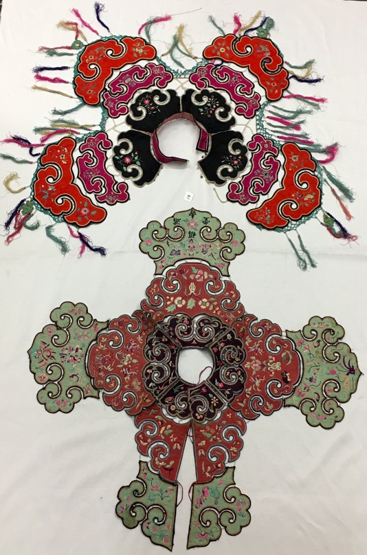A Pair Of  Antique Chinese Embroidered Silk Cape