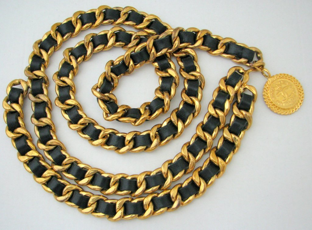 Chanel-Classic Gilt Curb Link Chain Woven With Leather