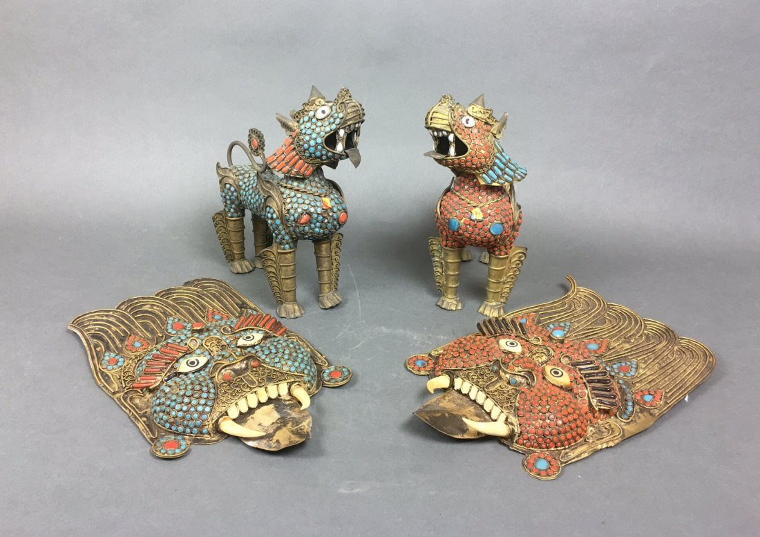 Four Of Bronze Figures With Coral & Turquoise