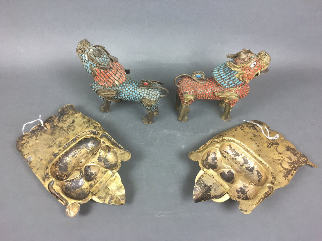 Four Of Bronze Figures With Coral & Turquoise - 2