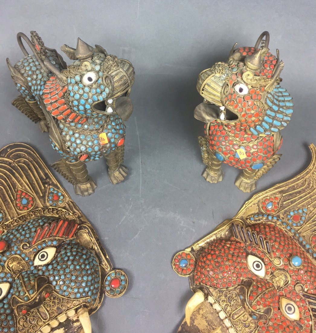 Four Of Bronze Figures With Coral & Turquoise - 4