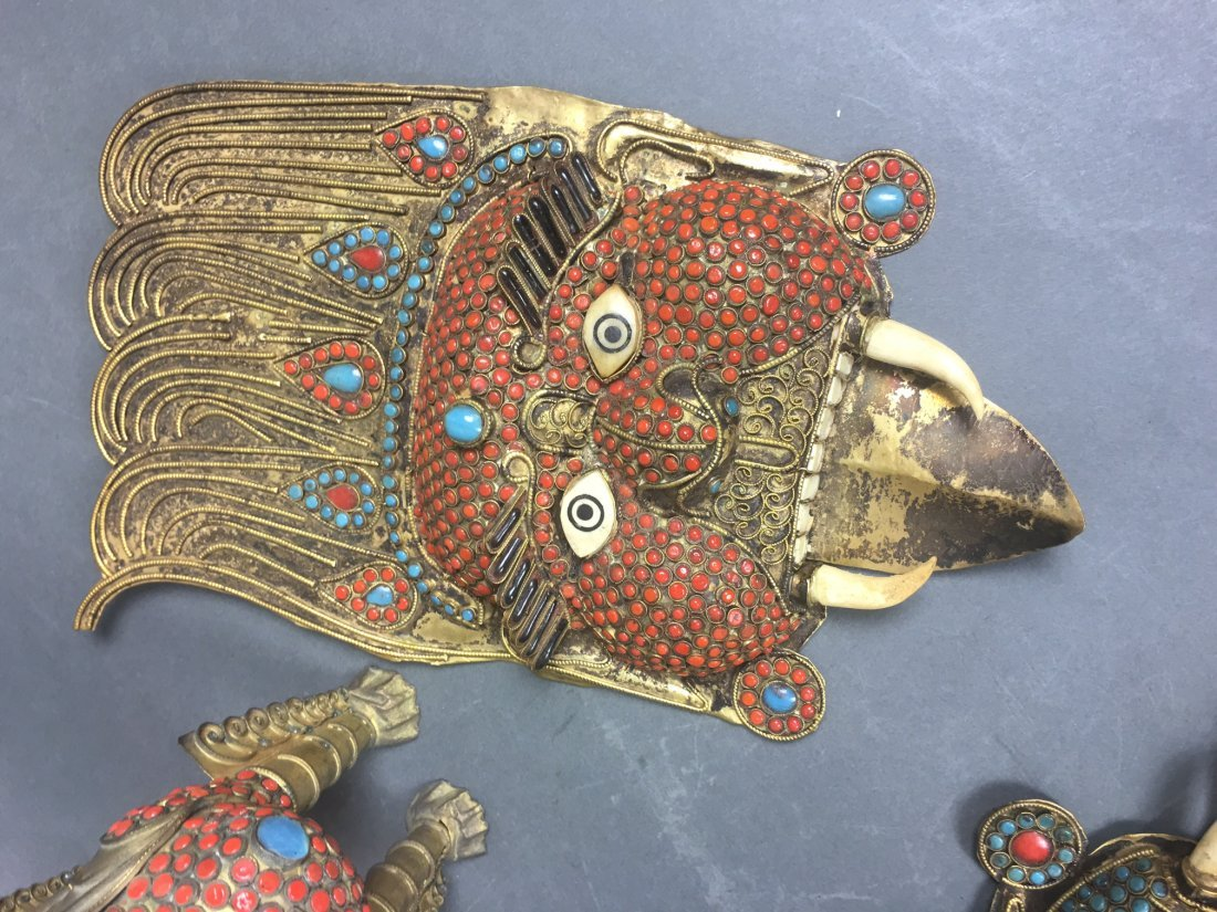 Four Of Bronze Figures With Coral & Turquoise - 7