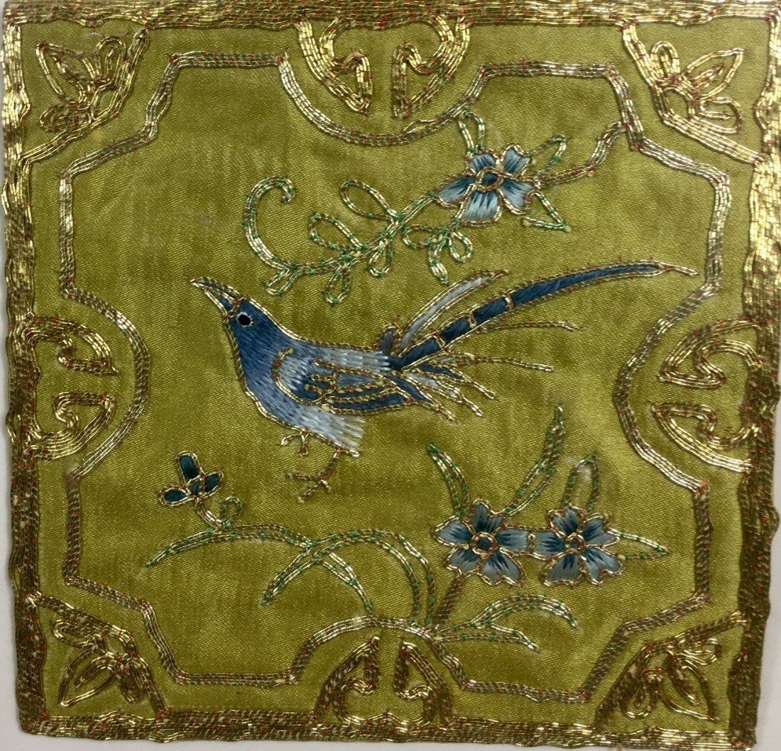 A Antique Chinese Embroidered Silk With Frame - 3