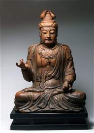 A Large Chinese Wooden Carving Of GuanYin