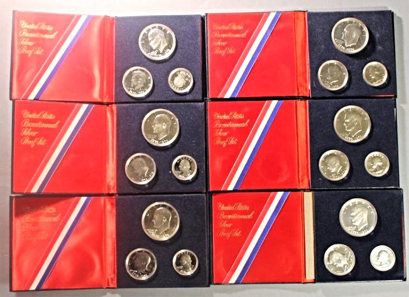 5 US Bicentennial Silver Proof Sets