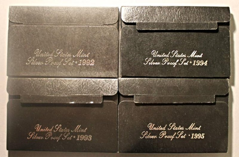 4 US Silver Proof Sets 1992-1995