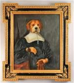 Dog Portrait Oil on Canvas signed Belle