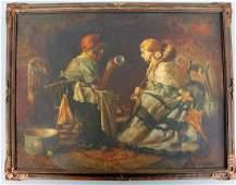 Harry Roseland Reading the Tea Leaves / Oil on Canvas