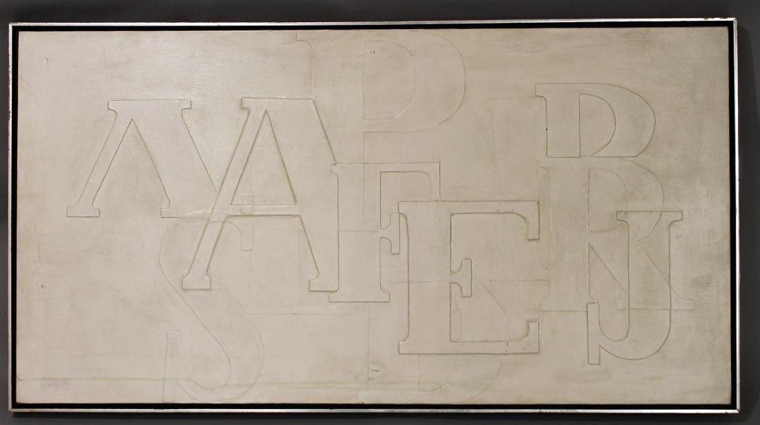 White Textured Alphabet Painting attr Omar Rayo