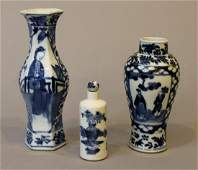 3 19th Century Blue and White Chinese Items