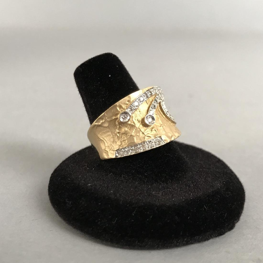 14K Gold Textured Ring with Diamond Design - 2
