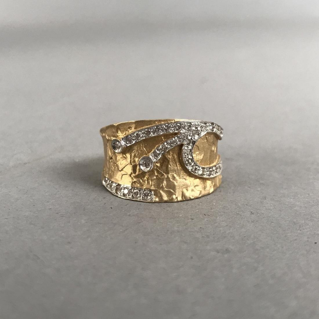 14K Gold Textured Ring with Diamond Design - 3