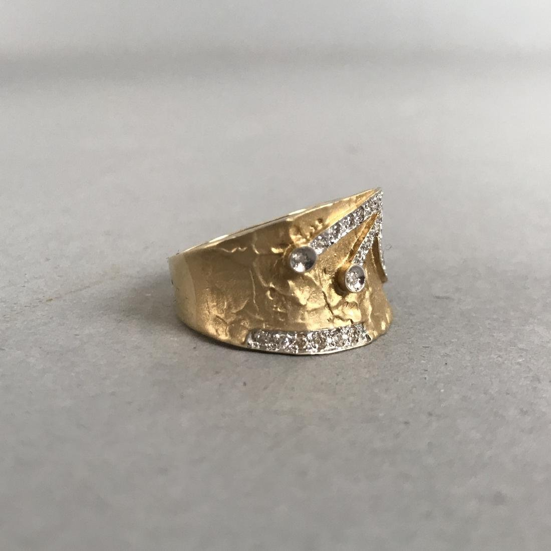 14K Gold Textured Ring with Diamond Design - 4