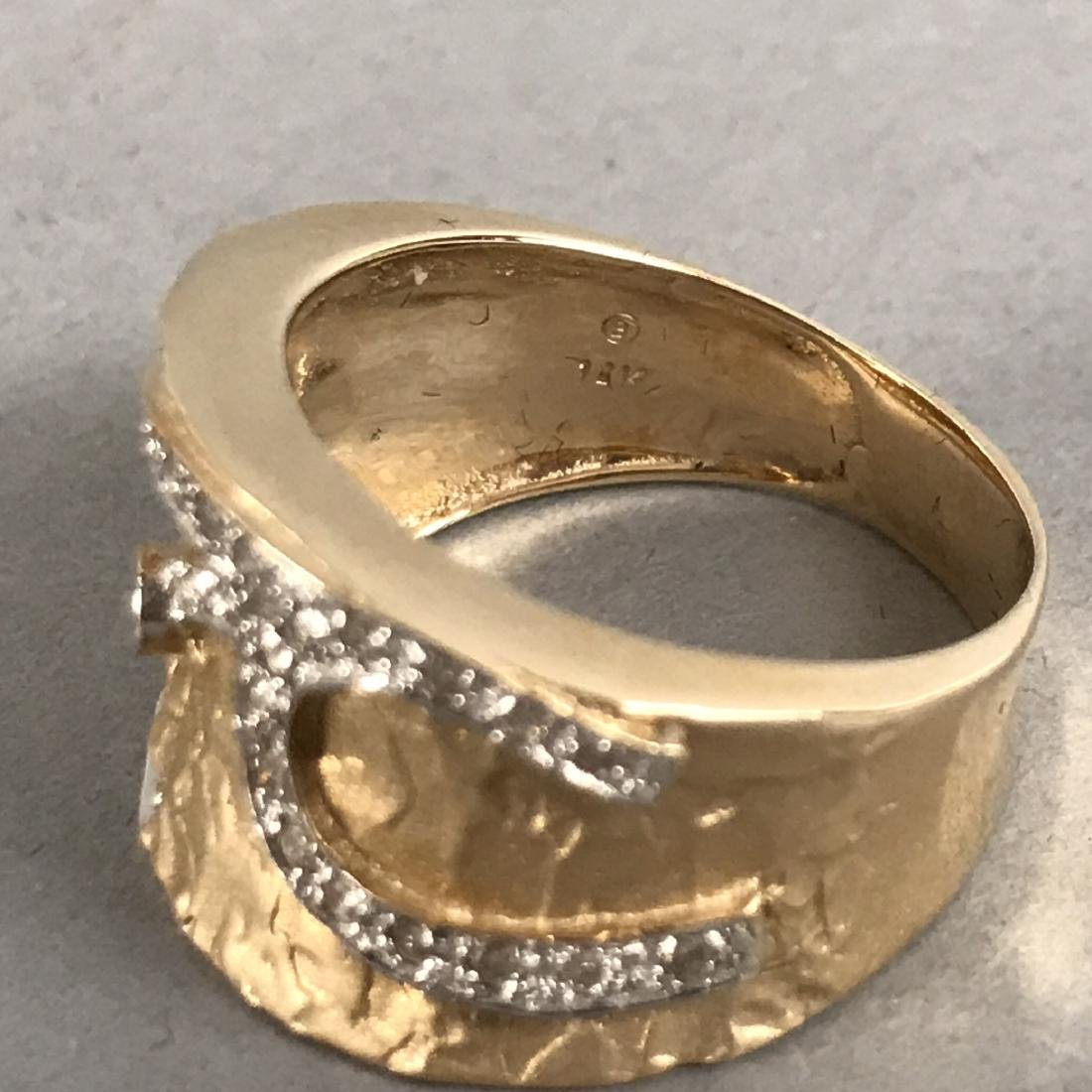 14K Gold Textured Ring with Diamond Design - 5