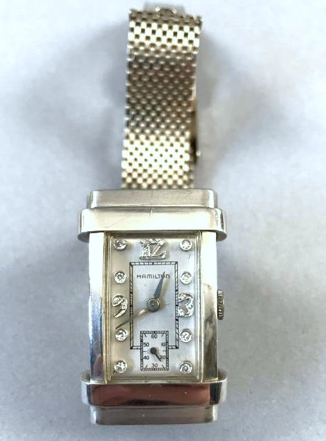 Platinum & Diamond Hamilton Watch 14K Gold Band