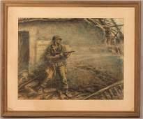 Kerr Eby 1943 Combat Soldier Mixed Media