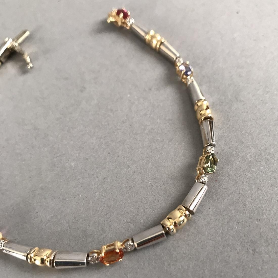 14K White/Yellow Gold Bracelet w/ Gemstones