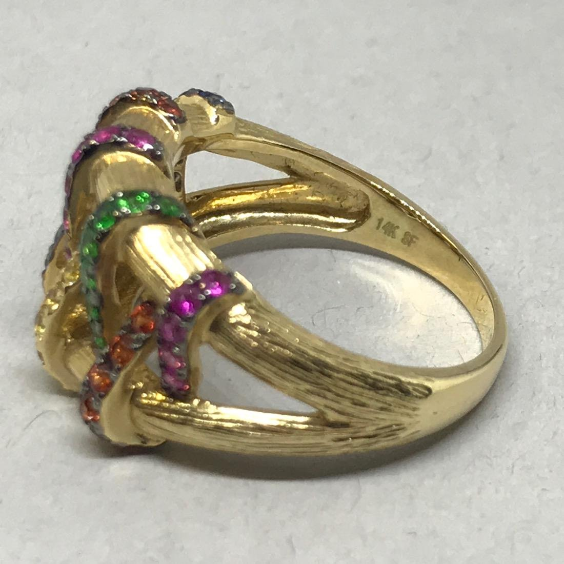 14K Gold Ring with Assorted Gemstones - 3