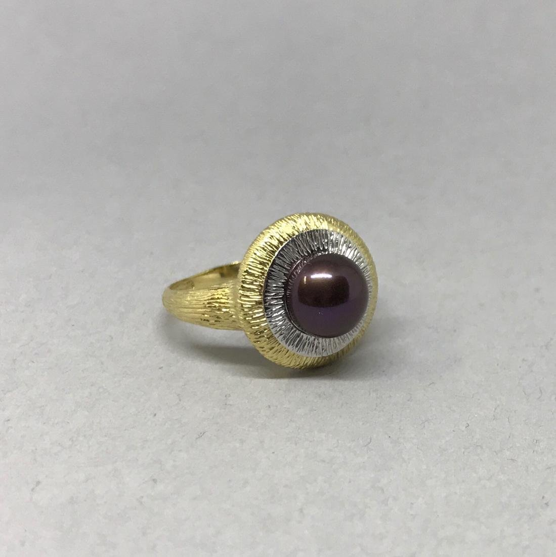 14K Yellow and White Gold Ring with Pearl