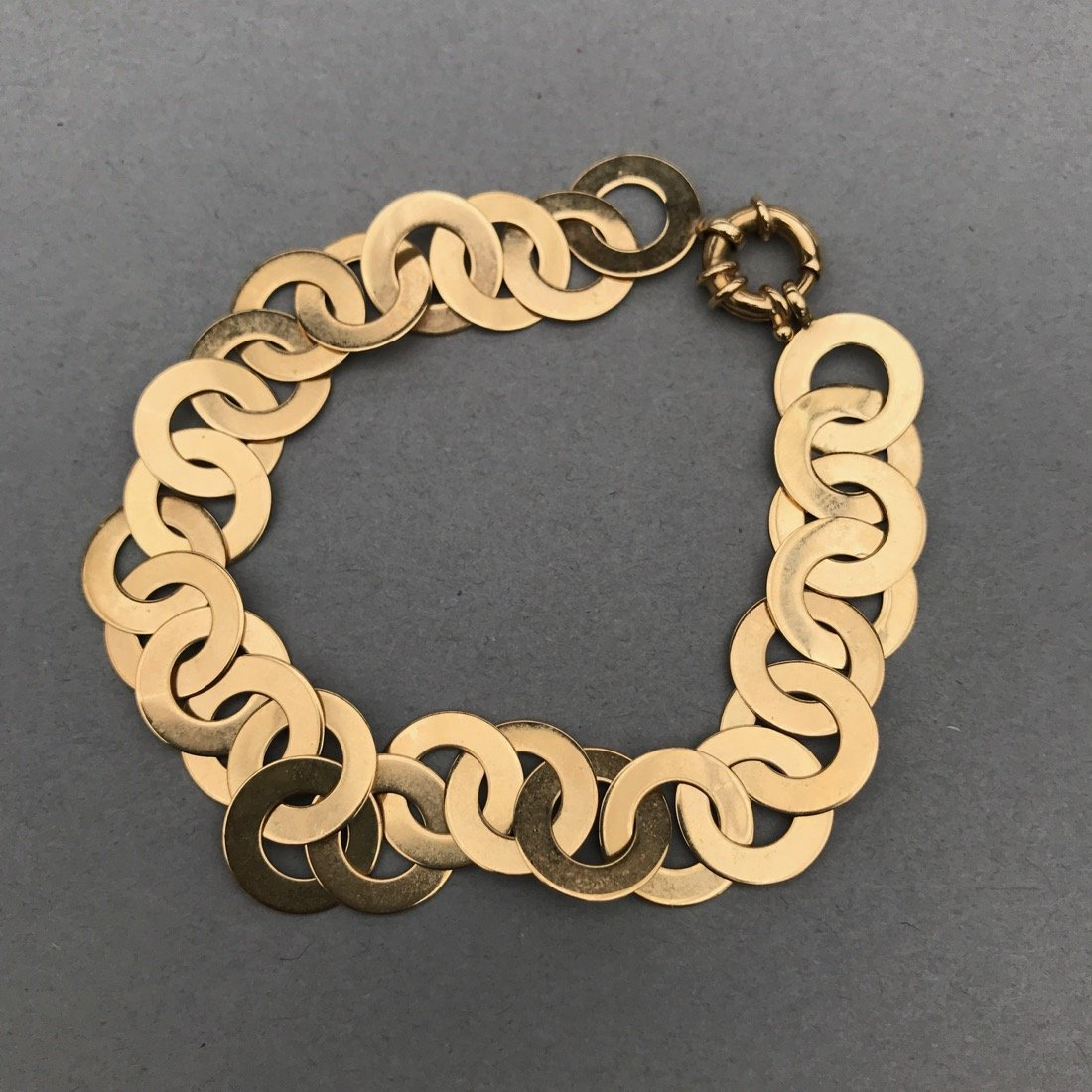 14K Gold Flat Circle Bracelet