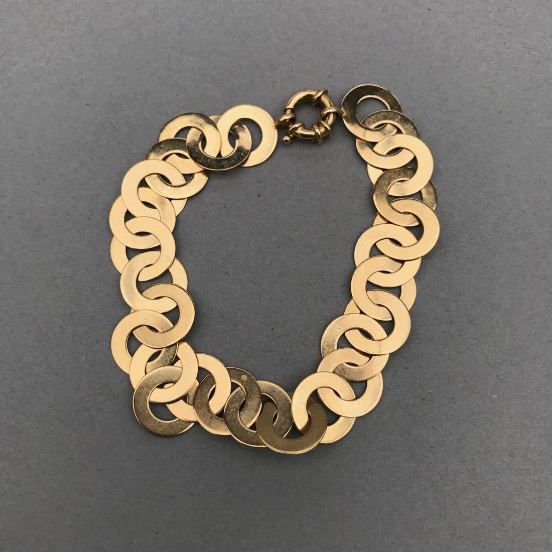 14K Gold Flat Circle Bracelet - 2