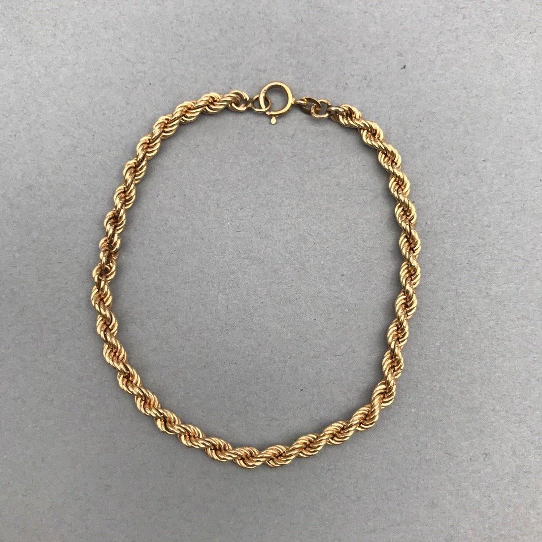 14K Gold Twisted Chain Bracelet