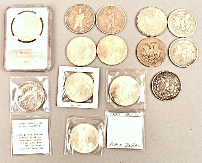 5 Morgan and 9 Peace Dollars - 2